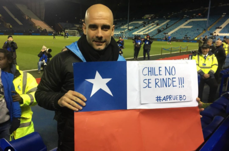 Pep Guardiola y su bandera: «Chile no se rinde»
